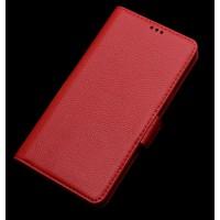 Кожаный чехол портмоне подставка (нат. кожа) для Asus Zenfone 2 5 Красный