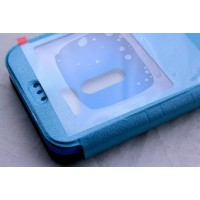 Чехол флип подставка с окном вызова и магнитной защелкой для Asus Zenfone 2 5 Голубой