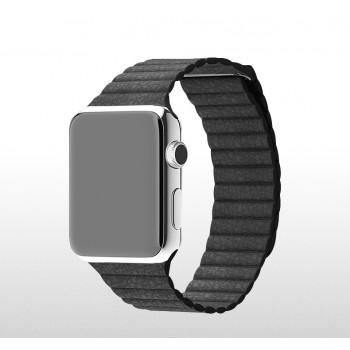 Кожаный сегментированный ремешок (нат. кожа) с магнитным крепежом и металлическим коннектором для Apple Watch 38мм