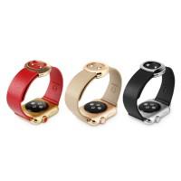 Кожаный ремешок с круглой металлической пряжкой и металлическим коннектором для Apple Watch 38мм