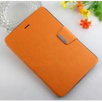 Текстурный чехол портмоне подставка на силиконовой основе с магнитной защелкой для Samsung Galaxy Tab A 8 Оранжевый