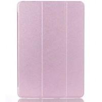 Текстурный чехол флип подставка сегментарный на пластиковой полупрозрачной основе для Samsung Galaxy Tab A 9.7 Розовый