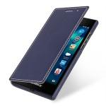 Кожаный чехол горизонтальная книжка (нат. кожа) для Blackberry Leap