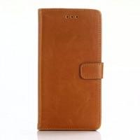 Винтажный чехол портмоне подставка с магнитной застежкой на пластиковой основе для Blackberry Leap Оранжевый