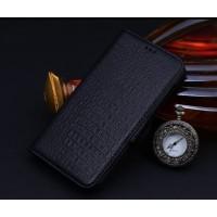 Кожаный чехол портмоне подставка (нат. кожа крокодила) для Blackberry Leap Черный