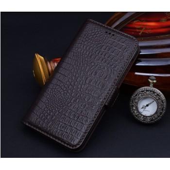 Кожаный чехол портмоне подставка (нат. кожа крокодила) для Blackberry Leap
