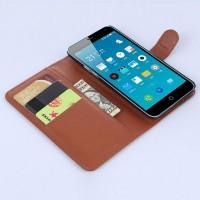 Чехол портмоне подставка с защелкой для Meizu M1 Note Коричневый