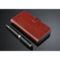 Чехол портмоне подставка с магнитной защелкой для Meizu M1 Note Коричневый