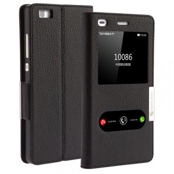 Кожаный чехол флип подставка на пластиковой основе с окном вызова и свайпом для Huawei P8 Lite