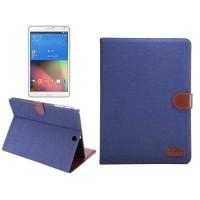 Джинсовый чехол подставка с внутренними отсеками и защелкой для Samsung Galaxy Tab S2 9.7 Синий