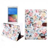 Текстурный чехол подставка с внутренними отсеками для Samsung Galaxy Tab S2 8.0 Белый