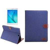 Джинсовый чехол подставка с внутренними отсеками и защелкой для Samsung Galaxy Tab S2 8.0 Синий