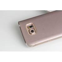 Чехол портмоне на пластиковой транспарентной основе для Samsung Galaxy S6 Edge Бежевый