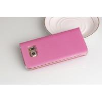 Чехол портмоне на пластиковой транспарентной основе для Samsung Galaxy S6 Edge Пурпурный