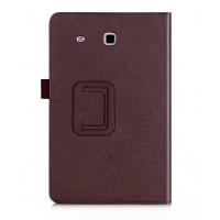 Чехол подставка с рамочной защитой и внутренними отсеками для Samsung Galaxy Tab E 9.6 Коричневый