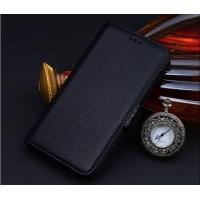 Кожаный чехол горизонтальная книжка (нат. кожа) с крепежной застежкой для Philips S396 Черный