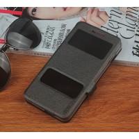 Чехол флип подставка на силиконовой основе с окном вызова и свайпом текстура Треснутая Земля для Philips S396 Черный