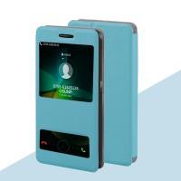 Текстурный чехол флип подставка с окном вызова и свайпом для Lenovo Vibe Shot Голубой
