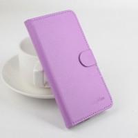 Чехол портмоне подставка на клеевой основе с магнитной застежкой для Explay Tornado Фиолетовый