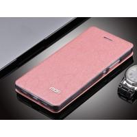 Текструный чехол смарт флип подставка на силиконовой основе для Huawei P8 Lite Розовый