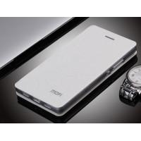 Текструный чехол смарт флип подставка на силиконовой основе для Huawei P8 Lite Белый