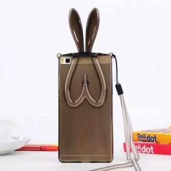 Силиконовый дизайнерский фигурный чехол Заяц со складными ушами для Huawei P8 Lite