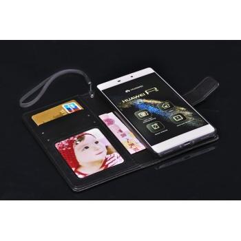 Чехол портмоне подставка на пластиковой основе с магнитной защелкой для Huawei P8 Lite