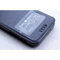 Чехол флип подставка на силиконовой основе с окном вызова для Alcatel One Touch Pixi 3 (4.5) Черный