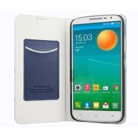 Чехол флип подставка на пластиковой основе с внутренним карманом для Alcatel One Touch Pop 2 (5) Синий