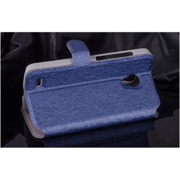 Текстурный чехол флип подставка на пластиковой основе с магнитной застежкой и внутренними карманами для Alcatel One Touch Pop 2 (5)