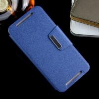 Чехол флип подставка на силиконовой основе с дизайнерской магнитной защелкой для HTC One E9+ Синий