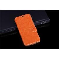 Чехол флип подставка с отделениями для карт на пластиковой основе ля Alcatel One Touch Pop 2 (5) Premium Оранжевый