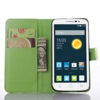 Чехол портмоне подставка на пластиковой основе с магнитной застежкой для Alcatel One Touch Pop 2 (5) Premium Зеленый