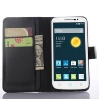 Чехол портмоне подставка на пластиковой основе с магнитной застежкой для Alcatel One Touch Pop 2 (5) Premium Черный