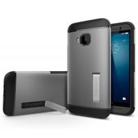 Премиум чехол силикон/поликарбонат с подставкой для HTC One M9 Серый