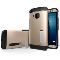 Премиум чехол силикон/поликарбонат с подставкой для HTC One M9 Бежевый
