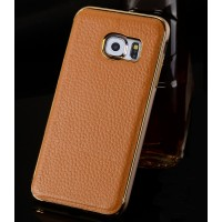 Двухкомпонентный чехол металлический бампер с кожаной накладкой для Samsung Galaxy S6