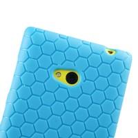Силиконовый чехол повышенной защиты с рисунком соты для Nokia Lumia 720 Голубой