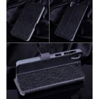 Текстурный чехол флип подставка на пластиковой основе с магнитной застежкой и внутренними карманами для HTC Desire 626/628 Черный