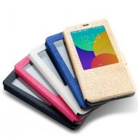 Текстурный чехол флип подставка на пластиковой основе с окном вызова для Meizu MX5