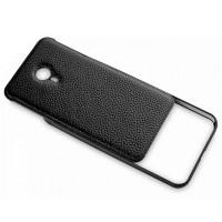 Двухкомпонентный гибридный чехол с металлическим бампером и кожаной накладкой для Meizu MX5