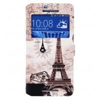 Чехол флип подставка с полноповерхностным принтом и окном вызова для HTC Desire 626/628