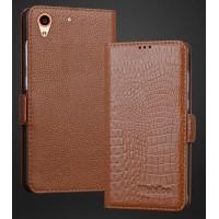 Кожаный чехол горизонтальная книжка (нат. кожа крокодила) подставка для HTC Desire 626/628