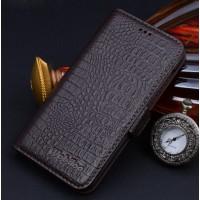 Кожаный чехол горизонтальная книжка (нат. кожа крокодила) подставка для HTC Desire 626/628 Коричневый
