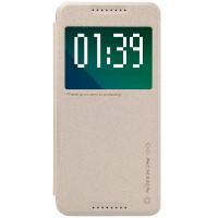 Текстурный чехол смарт флип на пластиковой нескользящей основе с окном вызова для HTC Desire 626/628 Бежевый