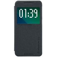 Текстурный чехол смарт флип на пластиковой нескользящей основе с окном вызова для HTC Desire 626/628 Черный