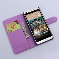 Чехол портмоне подставка с защелкой на пластиковой основе для HTC Desire 626/628 Фиолетовый