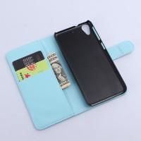 Чехол портмоне подставка с защелкой на пластиковой основе для HTC Desire 626/628 Голубой