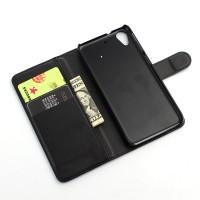 Чехол портмоне подставка с защелкой на пластиковой основе для HTC Desire 626/628 Черный