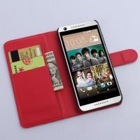 Чехол портмоне подставка с защелкой на пластиковой основе для HTC Desire 626/628 Красный